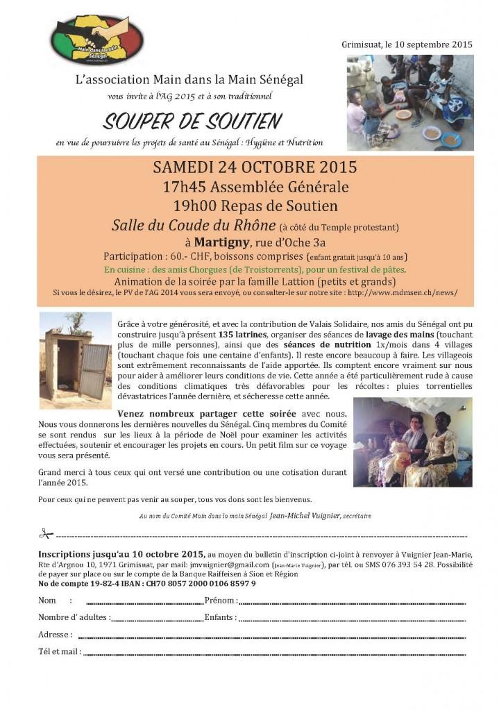 Invitation Souper de soutien 24.10.2015